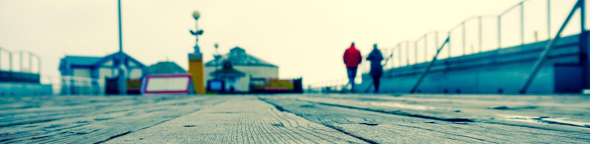 walking on a pier