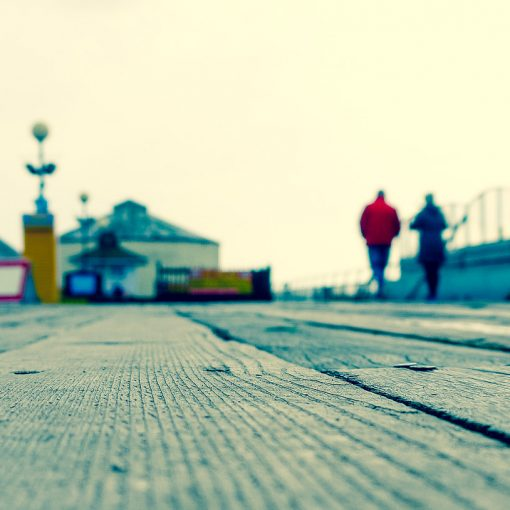 walking on a pier